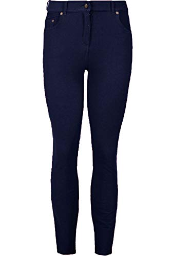 Fashion Star Womens Plain Denim Skinny Fit Button Jeggings Navy Plus Size...