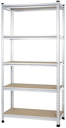 Amazon Basics - Estantería de rejilla de cartón prensado, de doble poste, con varios estantes, de resistencia mediana - 91 x 45 x 182 cm