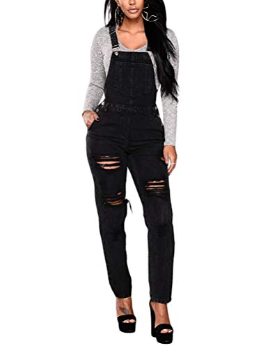 Tomwell Jeanslatzhose Damen Latzhose Jeans Hose Vintage Loose fit Jumpsuit Overall Blumen Denim Playsuit Romper H Schwarz Medium