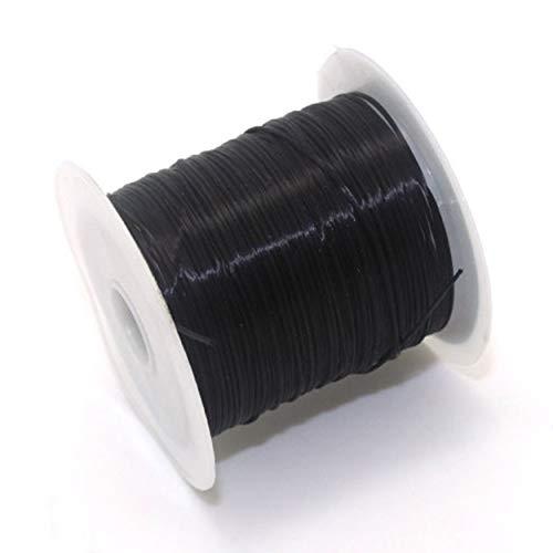 Tree-fr-Life 40 m (43 Yard) Plat élastique Cristal chaîne Extensible Polyester Cordon pour la Fabrication de Bijoux Bracelet Perles Fil Artisanat Accessoires Noir