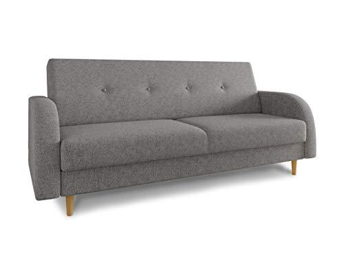 Schlafsofa Kelso - Sofa mit Bettkasten und Schlaffunktion, Bettsofa, Schlafcouch mit Holzfüße, Couch vom Hersteller, Couchgarnitur (Grau (Twist 21))