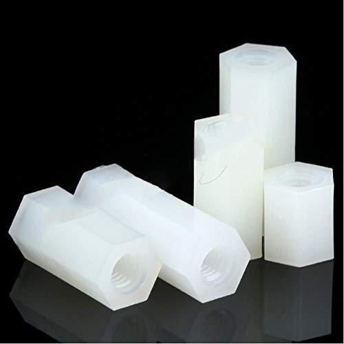 50 piezas M2 M2.5 M3 M4 hexagonal de nailon separador de columna espaciador de cabeza plana de doble paso tornillos espaciadores de plástico de nailon NL04,5mm, M3