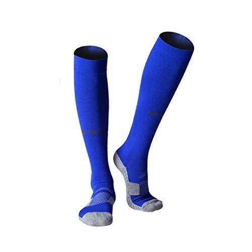 nobrand R-BAO Männer Frauen Fußball Lange Socken Anti-Rutsch-Knöchel/Crus Schutz Kniehohe Erwachsene Sportsocken,Blue,L(39-43)