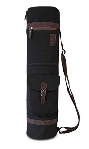 SukhaMat - Yoga Mat Duffle Bag Patterned Canvas with Pocket and Zipper (Black)