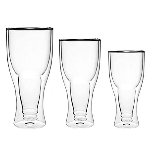 XMYNB Taza Té Creativo Borosilicate Doble Pared Cerveza Cerveza Copa Copa 350Ml Jugo Bebida Vidrio Copa Copa Simple Diseño