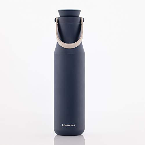 LOCK & LOCK METRO TUMBLER - Thermobecher für Kaffee, Tee und andere heiße und kalte Getränke - Vakuum Isolierflasche mit Trageschlaufe - 710 ml - blau