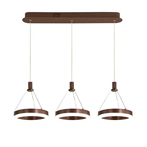 LED Pendelleuchte mit Fernbedienung Esszimmerleuchte, Modern Hängelampe Rechteck Runde Design Esstischlampe, Wohnzimmerlampe, Schlafzimmerlampe 3-flammig, Höhenverstellbar, D70cm (Braun, Dimmbar)