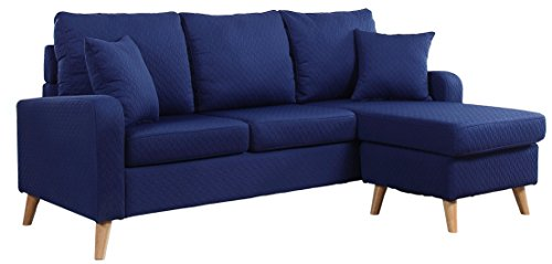 Divano Roma Furniture Middle Century Modern Linen Fabric Small Space Sectional Sofa with Reversible Chaise (Dark Blue)