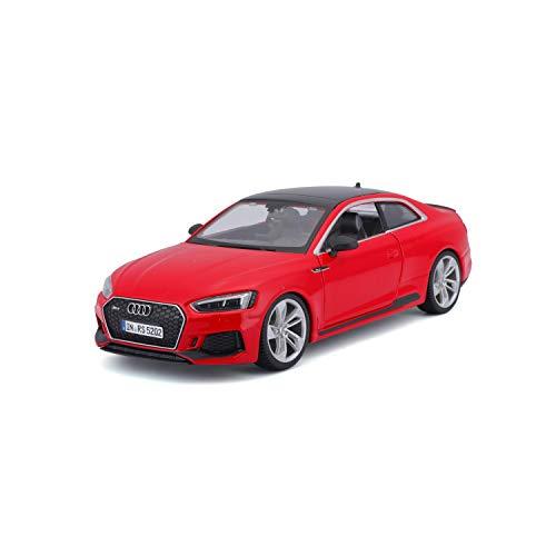 Bauer Spielwaren Bburago Audi RS5 Coupe (2019): Modellauto im Maßstab 1:24, Türen und Motorhaube zum Öffnen, 19 cm, rot (18-21090R), Mehrfarbig