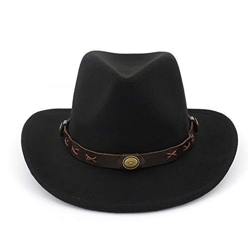 Xuguiping mannen vrouwen wolvilt Fedoras met riem Western Cowboy vorm hoed brede rand trilby hoed dames heren hoed 56-58 zwart