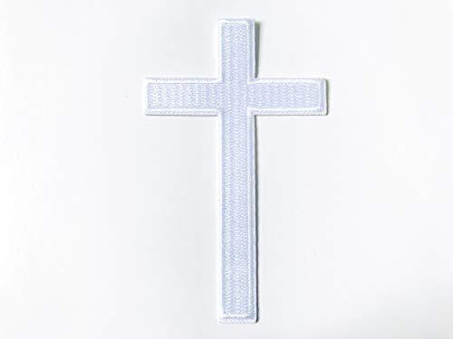 TH White Cross Logo Biker Motorcycle Embroidered Sew on Iron on Patch for Backpacks Jeans Jackets Clothing etc.
