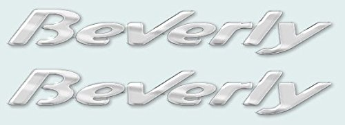 2 ADESIVI in RESINA 3D SCRITTA BEVERLY compatibile con PIAGGIO 125-250-300-500 CROMO