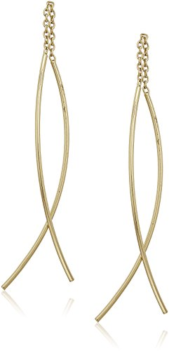Gold Over Sterling Silver Double Curved Threader Drop Earrings