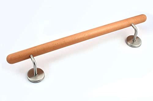 Holz-Handlauf Set mit halbrunden Abschlüssen und Haltern 50-290cm am Stück (Buche, 60cm)