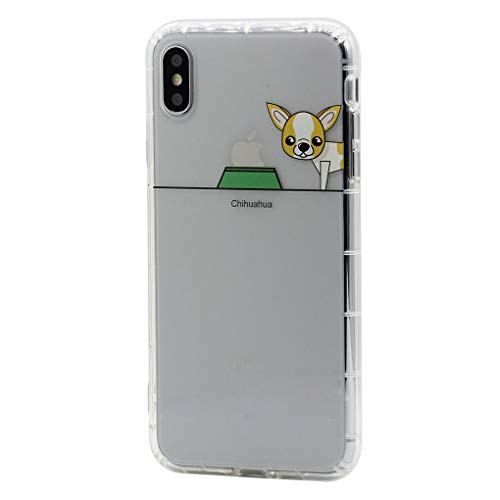 Keyihan iPhone 8 Plus/iPhone 7 Plus Funda Carcasa Cómic Divertido Perro Lindo patrón Transparente Suave TPU Silicona Shockproof Parachoques Bumper Case para Apple iPhone 8 Plus (Chihuahua)