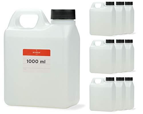 Octopus 10x 1000 ml Kanister, 1 Liter Wasserkanister Camping, Leere Plastikkanister für Lebensmittel, Öle oder Chemikalien, Kunststoffkanister aus HDPE-Kunststoff