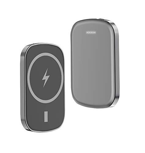 sgoseye Cargador Inalámbrico mag-Safe Power Bank, Cargador Magnético Portátil 5000Mah, PD20W + 15W Carga Rápida Inalámbrica, para IPhone12 12Pro MAX Mini Batería Externa Magnética (Gris)