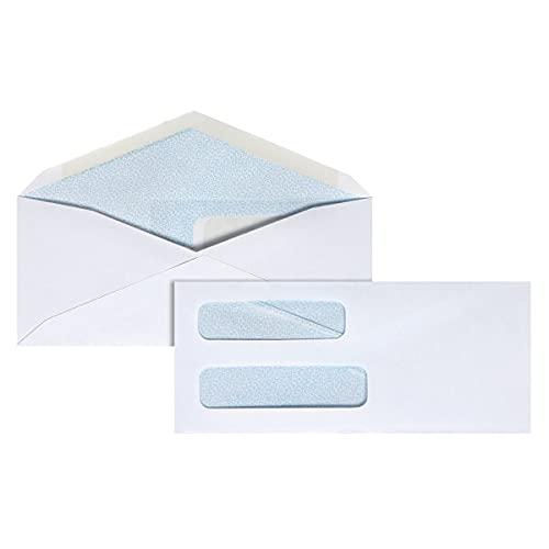 Office Depot Double-Window Envelopes, 8 5/8in. (3 5/8in. x 8 5/8in.), White, Gummed, Box of 500, 12041