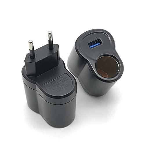 iSpchen Encendedor de Cigarrillos doméstico de 220 V a 12 V, Cargador USB, Adaptador de Enchufe de Coche, Transferencia de Ca, Mechero de CC, Enchufe Europeo