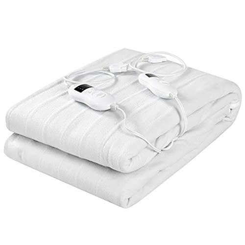 Dual Control Heated Mattress Pad, Wellhut Electric Heating Pads, Queen/King Bed Warmer w/ 8 Heat Levels, 4 Timings, UL&ETL Approved, Overheating Protection, Machine Washable