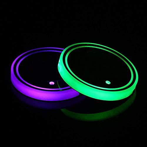 2 pz LED auto sottobicchieri con 7 colori luce luminescente auto portabicchieri luci tazza Pad USB ricarica tazza Mat per bevande Coaster accessori interni decorazione atmosfera luce fit per F-ord