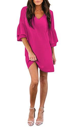 BELONGSCI Women's Dress Sweet & Cute V-Neck Bell Sleeve Shift Dress Mini Dress Rose