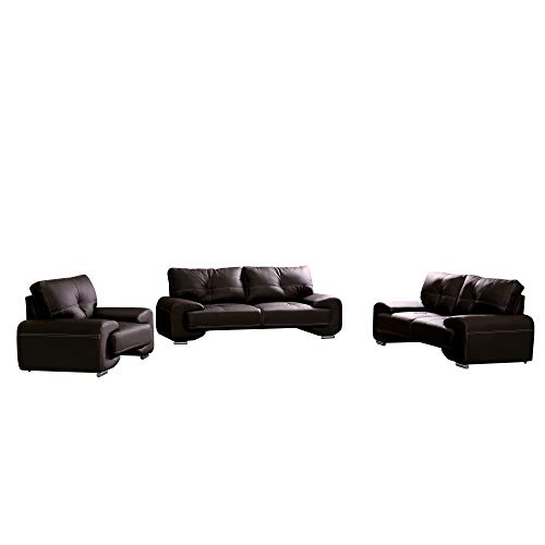 mb-moebel Polstergarnitur Sofa Set 3er & 2er & Sessel 3-2-1 Wohnlandschaft 3-Sitzer und 2-Sitzer Möbel Set - Florida LUX (Weiß)
