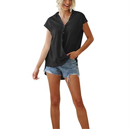 LYAZFC Camisa de Gasa Suelta con Cuello en V y Manga de murciélago de Color sólido para Verano para Mujer