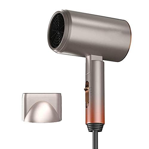 Sysyrqcer Secador de Pelo Negativo Profesional de la aleación de Aluminio Secador de Pelo Plegable Integrado Calefacción y peluquería de enfriamiento (Color : Golden)