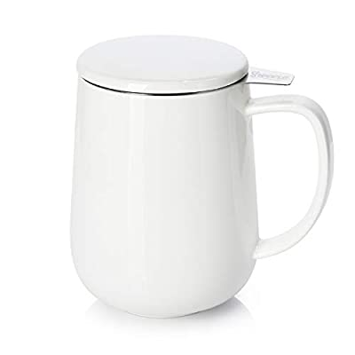 Sweese 204.101 Porcelain Tea Mug with Infuser and Lid, 20 OZ, White