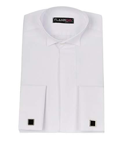 Jungen Doppelmanschette Flügelkragen formell weißes Hemd mit Manschettenknöpfen Gr. 9-10 Jahre, weiß