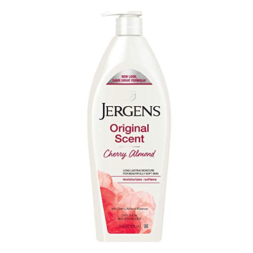 Jergens Original Scent Dry Skin Moisturizer Body and Hand Lotion for Long Lasting Skin Hydration Ounce with HYDRALUCENCE blend and Almond Essence, cherry, 21 Fl Oz