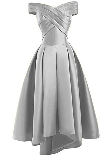 JAEDEN Prom Dress Evening Gown High Low Off Shoulder Party Dress Formal Evening Gowns Pleat Silver
