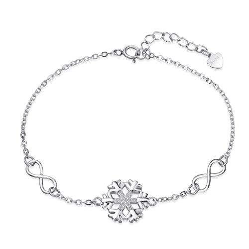 Pulsera de plata de ley 925 para mujer, diseño de copo de nieve