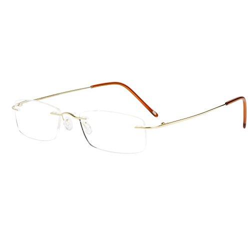 LianSan 8085 - Gafas de lectura sin marco para hombre y mujer (titanio, ligeras, sin bordes)