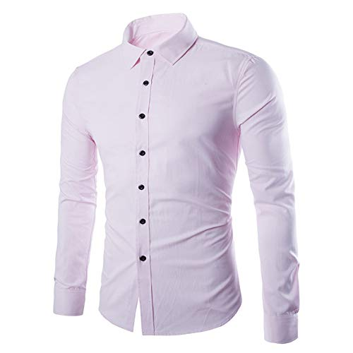 Herren Hemd Langarm Revers Business formal Work Wedding Party Button Shirt Lässige Slim Fit Dress Shirt Frühling, Herbst und Winter Casual Daily Wear Streetwear M