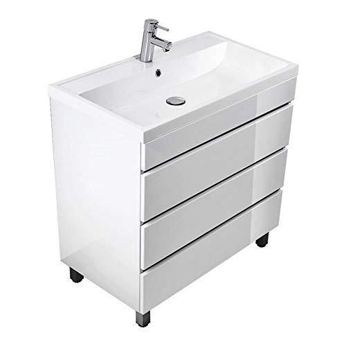 Lomadox Badmöbel Stand-Waschtisch mit Unterschrank in Hochglanz weiß 80cm Waschbecken