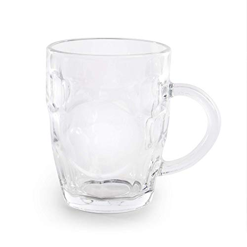Glass Beer Tankards - Set of 4   Old Fashioned Drinking Glasses   Perfect for Garden Bar & Home Drinking   Pint Size Tankards   M&W