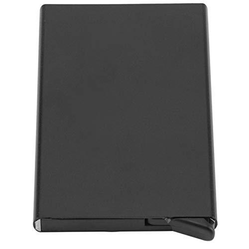 Omabeta Caja de Tarjeta portátil de Aluminio Diseño emergente automático Delgado Durable 10 * 6.2 * 0.8 cm para campaña publicitaria(Black)