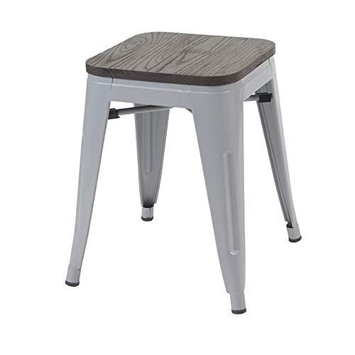 Hocker HWC-A73 inkl. Holz-Sitzfläche, Metallhocker Sitzhocker, Metall Industriedesign stapelbar - grau