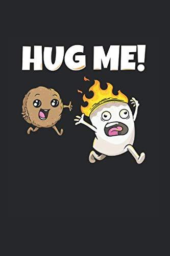 Hug me Marshmallow Keks Notizbuch: Marshmallow Notizheft A5 kariert Rechenheft Notizblock für Kinder Journal Schulheft Geschenk für Camper Heft mit Kästchen