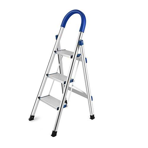 WHF Trittleiter , Leiter , Tritthocker Trittleiter Edelstahl Tragbare Trittleiterduale Verwendung Dreistufige Leiter Vierstufige Fotoleiter/Für Die Haushaltsreinigung Faltschritte,43 X 59 X 114 cm,
