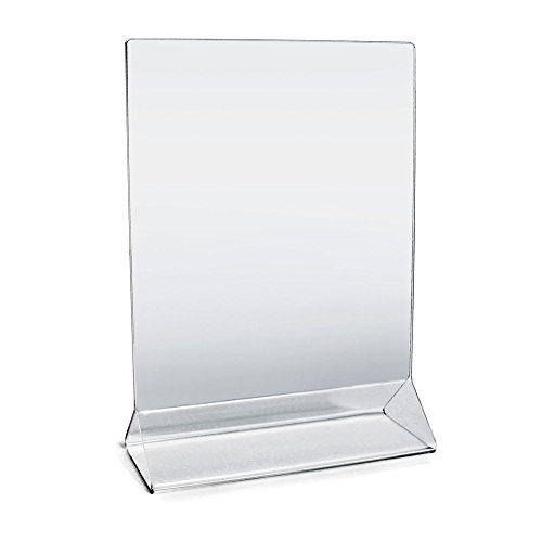 "Acrylic Sign Holder 5"" x 7"" Plastic Menu Frame / Tabletop Display / Clear Durable - Scratch Resistant (5x7, 6-Pack)"