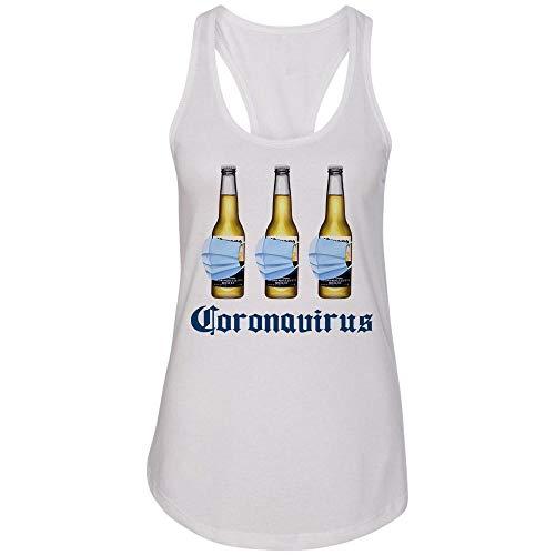 Coronavirus Virus Funny Beer Drinking Tank Top Racerback Women's Medium White