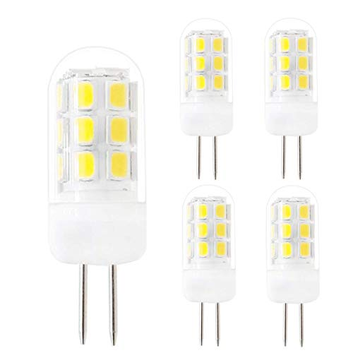 G4 LED Bulb 120V Bi-Pin Base Light Bulbs, AC120V G4 3.5W Cool White 6000K 320LM, Replace 35W G4 Halogen for Under-Cabinet Lights Ceiling Lights Table Lights Puck Lights(Pack of 5)