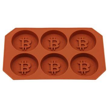 EgBert 6 Gitter Bitcoin Design Silikon Eiswürfelschale DIY Eisform Schokoladenkekse Keks Backform Eiswürfelbereiter Für Küche Whisky Cocktail- Kaffee