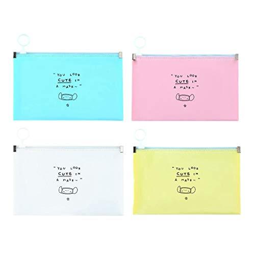 4 Piezas Mask_Mascarillas Bolsa con Cremallera, Estuche para mask_mascarillas de Almacenamiento de Plástico contra el Polvo y la Suciedad, lavable e impermeable Rosa + amarillo + azul + blanco