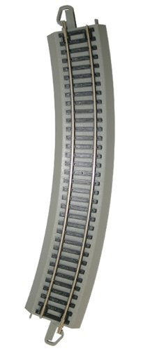 """Bachmann Trains - Snap-Fit E-Z TRACK 18"""" RADIUS CURVED TRACK - BULK (50 pcs) - NICKEL SILVER Rail With Gray Roadbed - HO Scale"""