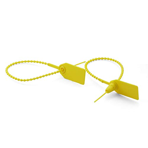 PZRT 50pcs Plastic High Security Seal with Metal Insert Adjustable Self-Locking Pull Tight Cable Ties Tags Disposable Wire Padlock for Cargo Container Seal Lock Yellow