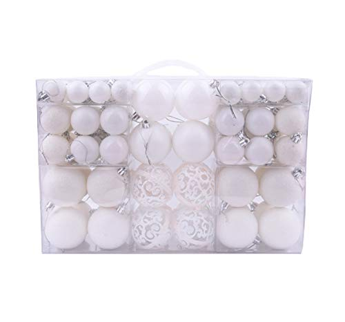 100pcs Christmas Ball Plating Ornaments Set Xmas Tree Shatterproof Seasonal Decorations with Hanging Hoop for Holiday Wedding Party Decoration (White)
